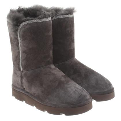 Brunello Cucinelli Suede fur boots