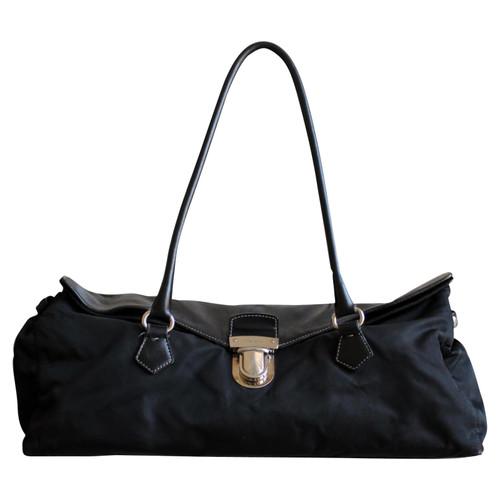 Prada Handbag Canvas in Black - Second Hand Prada Handbag Canvas in ... 10289b5253845