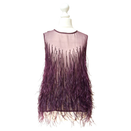 Plein Sud Silk top with ostrich feathers