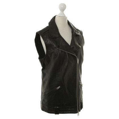 All Saints Lederen vest in zwart