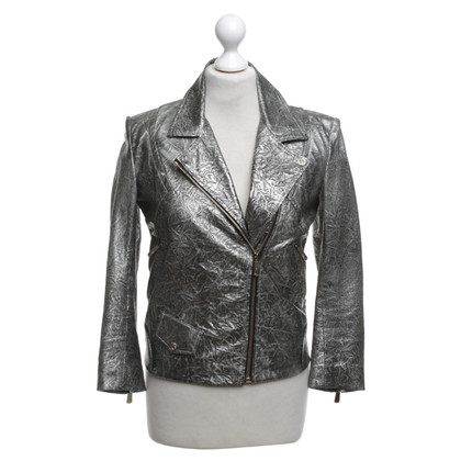 Faith Connexion Leather jacket in metallic look