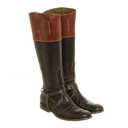 La Martina La Martina leather boots in two shades of Brown