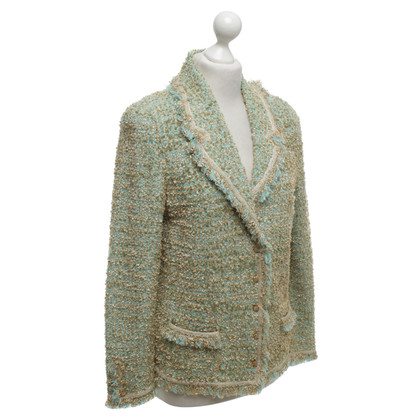 Escada Knitted blazer in turquoise / beige