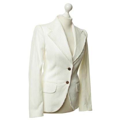 Dolce & Gabbana Blazer di velluto a coste in crema