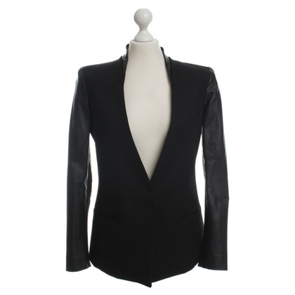 Helmut Lang Wool Blazer with leather details