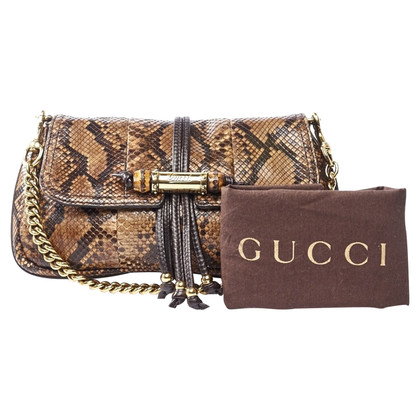 Golden Buckle clutch Python Leather