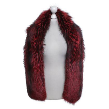 Escada Fox stola di pelliccia in rosso