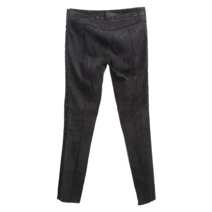 Neil Barrett pantaloni in pelle scamosciata in nero
