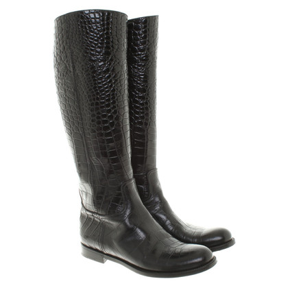 Prada Boots in crocodile leather look