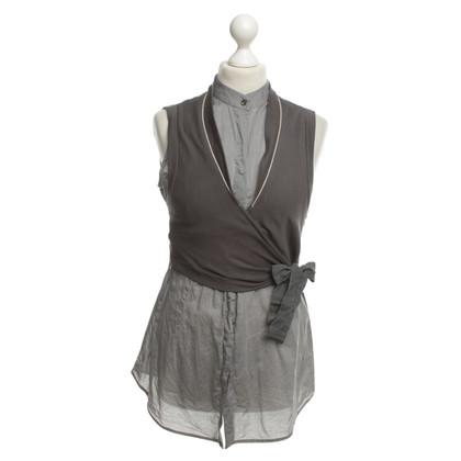 Brunello Cucinelli camicetta senza maniche in grigio