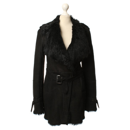 Costume National Cappotto in shearling nero