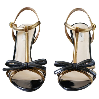 Prada T-Strap Patent Leather Runway Sandals
