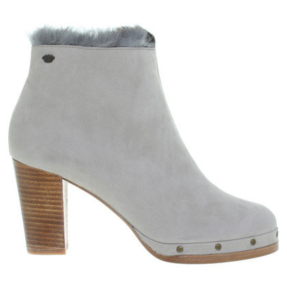 Fred de la Bretoniere Perlgraue ankle boots with fur lining