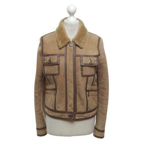 690b53f7ba2 Louis Vuitton Leather jacket in light brown - Second Hand Louis ...