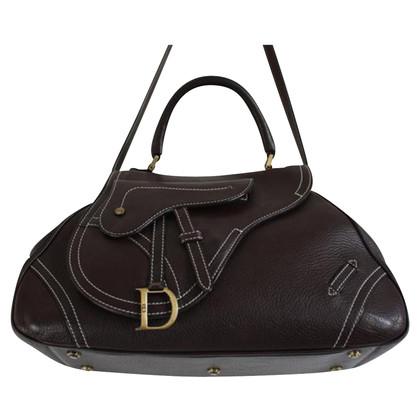 Christian Dior Brown generfd Leren schoudertas