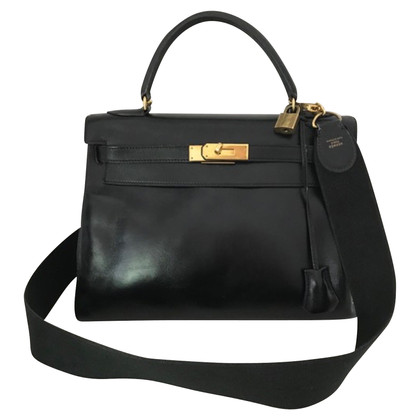 "Hermès ""Kelly Bag 32 Black Box Leather"""