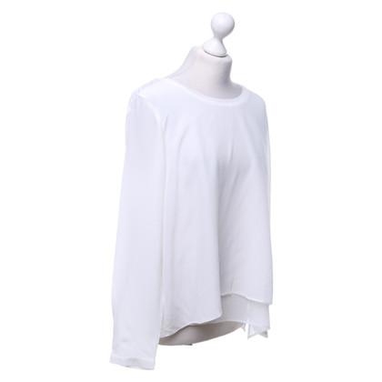 René Lezard Seiden-Shirt in Weiß