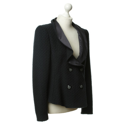 Armani Blazer blu scuro con collo in pelliccia