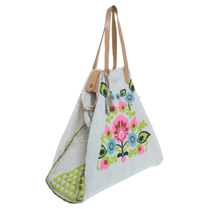 Hoss Intropia Canvas shopper met zwarte broderie