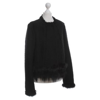 Ermanno Scervino Black jacket with fur trim