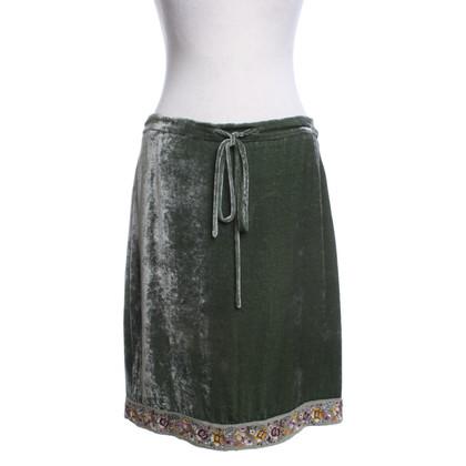 Etro Velvet skirt in green
