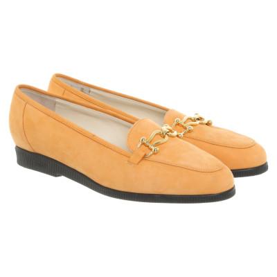 2d96f68eee9bc Bally Slipper Ballerinas aus Wildleder in Orange