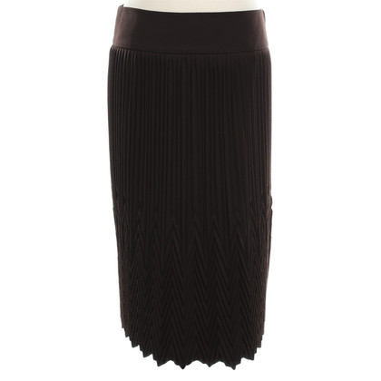 Donna Karan Pleated wool skirt in Brown