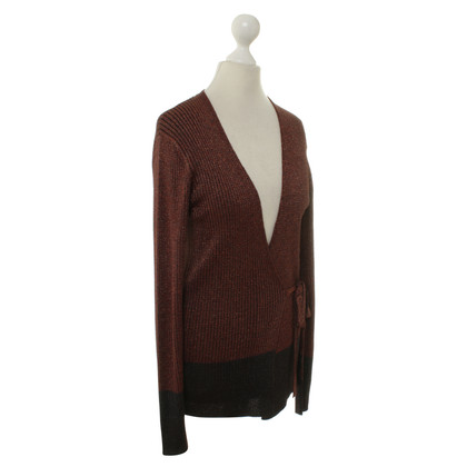 Dries van Noten Bordeaux/blue Cardigan with fancy yarn