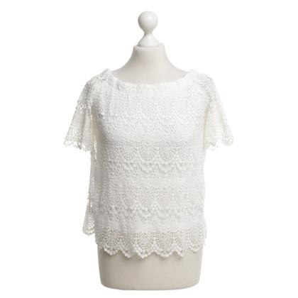 Velvet Top blouse in white
