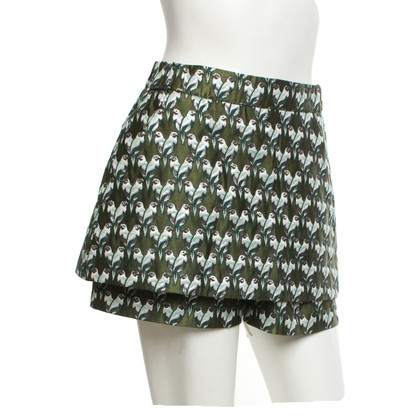 Maje Trouser skirt with parrot pattern