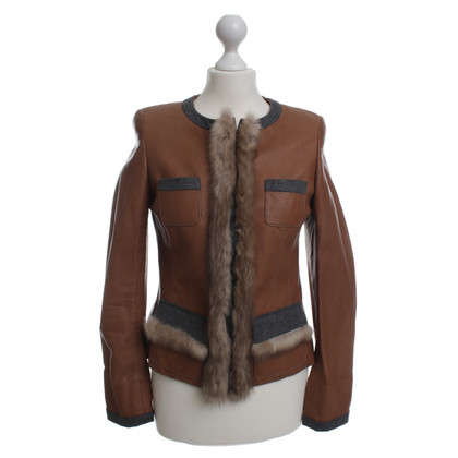 Thomas Rath Leather jacket with rabbit fur trim