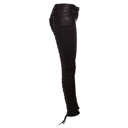 Plein Sud leather trousers with laces