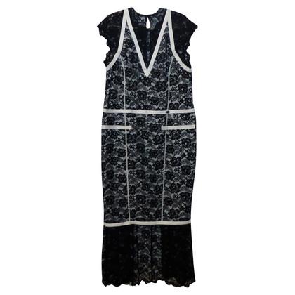 Chanel Schwarz-weißes Spitzenkleid