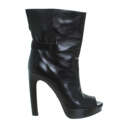 Prada Peeptoe ankle boots in black