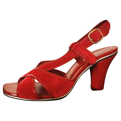 Marc Jacobs Leather and velvet shoes in red
