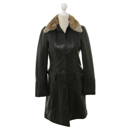 Jean Paul Gaultier Leather coat with fur collar
