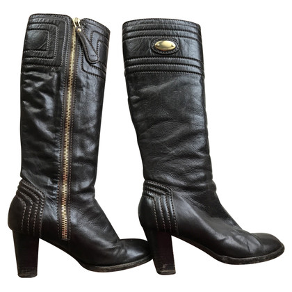 Chloé Brown leather boots with logo applied
