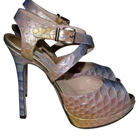 Luciano Padovan Sandaletten in Reptiloptik Bunt / Muster