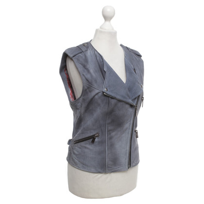 Barbara Bui Gilet in pelle con stampa jeans
