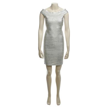 Herve Leger Kleid mit silberfarbenem Finish