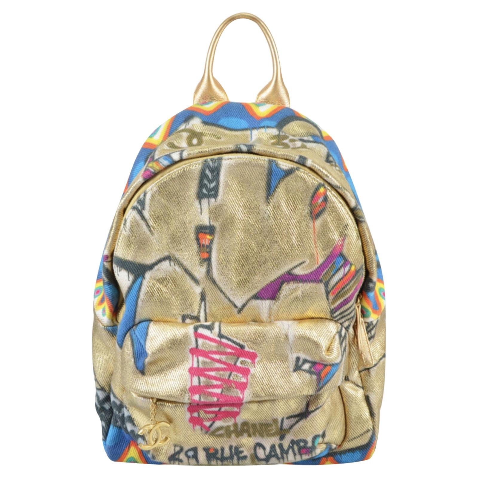 Chanel Graffiti Backpack Linen Second Hand Chanel Graffiti Backpack Linen Buy Used For 3400 4474396