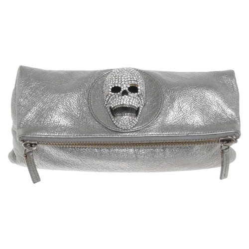 Thomas Wylde Clutch Bag Leather In Silvery Second Hand