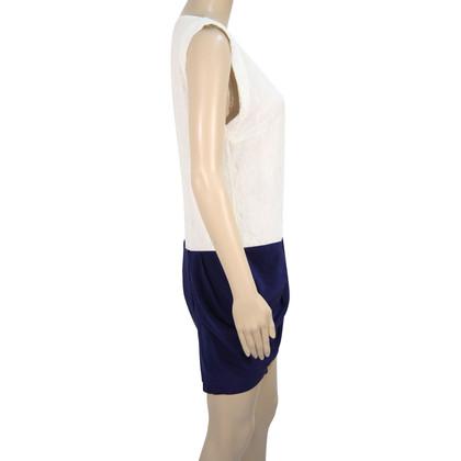 Maje zijden jurk met kanten rand