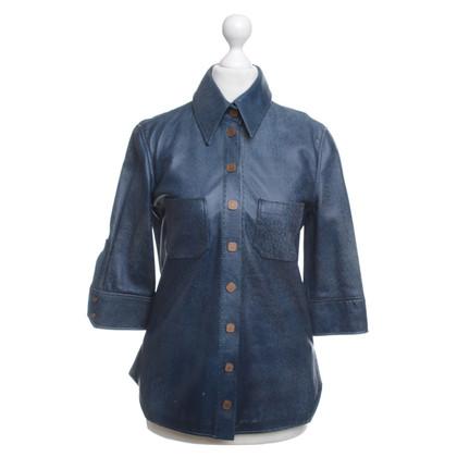Fendi Bluse aus blauem Leder