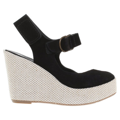 Pedro Garcia Wildleder-Wedges in Schwarz