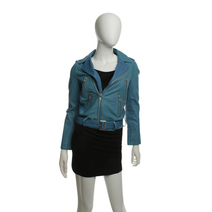 Maje Leather Jacket in Blauw