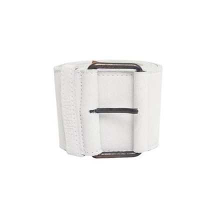 Shabbies Amsterdam Wide leather belt in white