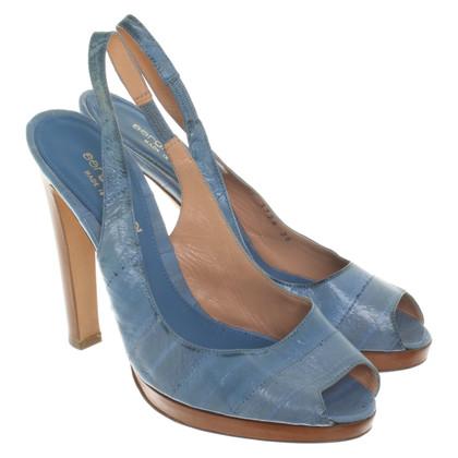 Sergio Rossi Peep-orteils en bleu / marron