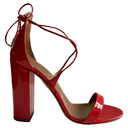 Aquazzura Red Lily 105 Patent Leather Sandals