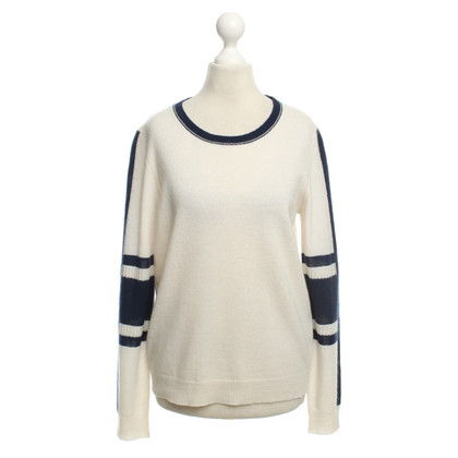 360 Sweater Cashmere sweater in cream / blue